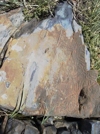 A meander rock carving,  Roque de los Muchachos, Garafia, La Palma