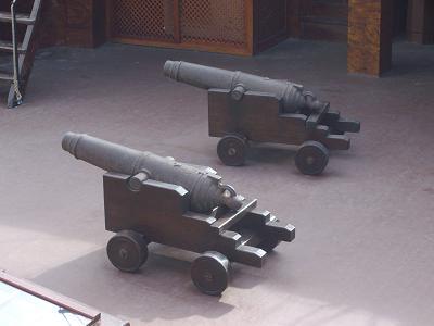 Canons on the main deck of the Santa Maria, Santa Cruz de La Palma