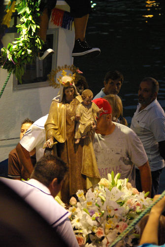 Loading the statue of Our Lady of Mt Carmel onto a fishing boat, Fiesta at Puerto Tazacorte, La Palma