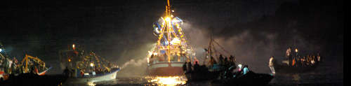 Boat procession at night with Our Lady of Mt Carmel, Puerto Tazacorte, La Palma