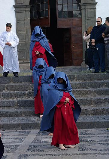 Holy Week Procession of barefoot penitents leaving the church of San Francisco, Santa Cruz de la Palma