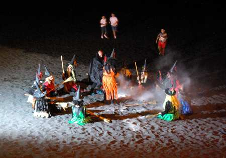 Witches dancing around a bonfire for San Juan fiesta, Puerto Naos, La Palma