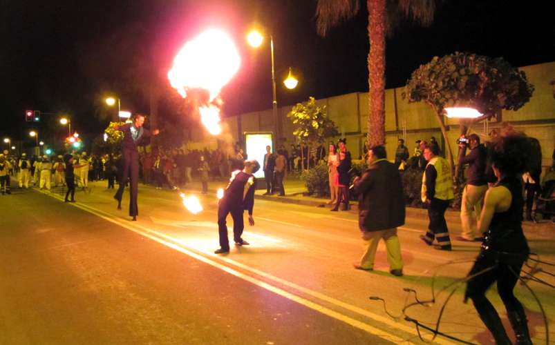 Fire-breather and stilt-walker, the sardine's funeral, Santa Cruz de La Palma, 2012