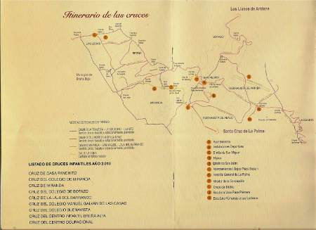 Map of the crosses in Breña Alta