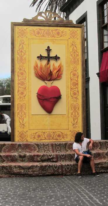 Decorative panel with a burning heart motif for the Sacred Heart fiesta, El Paso, La Palma island