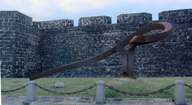 The statue of the trade winds in front of St Catherine&#039;s Fort, Santa Cruz de La Palma