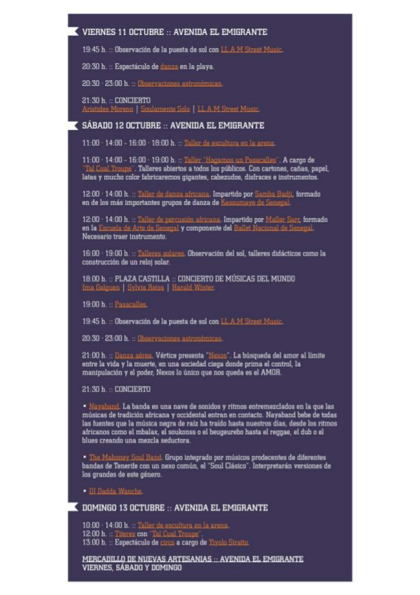 Program for the Sunset festival in Tazacorte, 2013