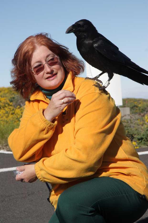 Sheila Crosby and Carmelo the raven, by Olaf Filzinger