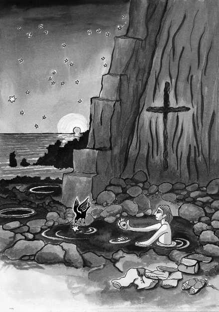 B&W drawing of the Holy Spring, Fuencaliente, at night.